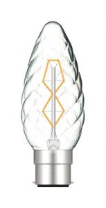 Rustica Candle C45/S Twisted B22 Clear 40W (100/10)