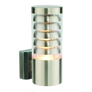 Tango Single Outdoor Wall Light Brushed Stainless Steel/Clear Finish