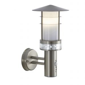 Pagoda Single Outdoor PIR Wall Light Brushed Stainless Steel/Frosted Finish