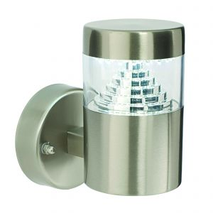 Pyramid Single LED Outdoor Wall Light Brushed Stainless Steel/Clear Finish