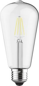 Value Classic LED Rustica Tradition Tip ST64 E27 6.5W Dimmable 2700K Warm White Clear Finish, 3yrs Warranty