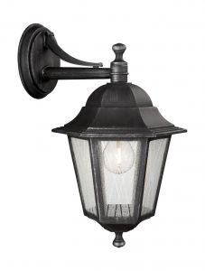 Toulouse Down Wall Lamp 1 Light E27 IP44 Exterior Brushed Black & Silver Aluminium/Glass