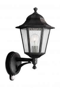 Toulouse Wall Lamp with PIR 1 Light E27 IP44 Exterior Brushed Black & Silver Aluminium/Glass