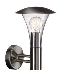 Beaumont Wall Lamp 1 Light E27 IP44 Exterior Stainless Steel/Clear