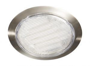 Cannes Circular Recessed Spot 1 Lamp Stainless Steel Finish Ridged Polycarbonate Clear Diffuser, Fluorescent GX53 7W Bulb IP20