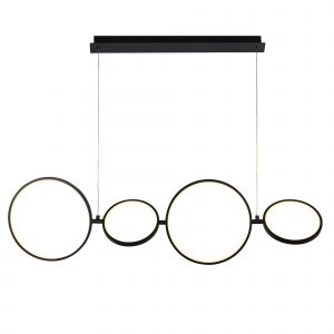 Cycle 4 Light 34W 1210lm Intgrated LED Matt Black Ring Dimmable Pendant Light With White Diffuser 3000K