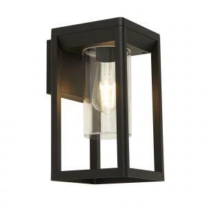 Barre 1 Light E27 Sand Black Outdoor IP44 Wall Light With Clear Polycarbonate Shade