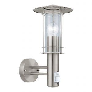 Lisio 1 Light E27 PIR Sensor Outdoor IP44 Wall Light Stainless Steel With Clear Glass