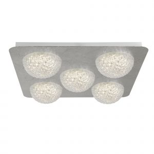 Harthe 5 Light 33W 2940lm Integrated LED Silver Leaf Square Flush Ceiling Fitting With Acylic Shade 3000K