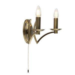 Norton 2 Light E14 Antique Brass Switched Wall Light