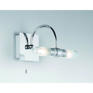 Shore 2 Light G9 Polished Chrome IP44 Bathroom Wall Light With Pull Cord Switch C/W Frosted Glass Shades
