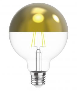 Classic Style LED Silver Top G80 E27 Dimmable 220-240V 4W 2700K, 330lm, Silver/Clear Finish, 3yrs Warranty