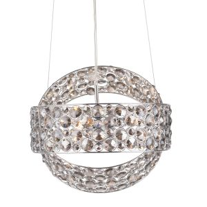 Victoria 3 Light G9 Polished Chrome Adjustable Pendant Light With Smoked Crystal Facets
