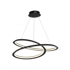 Twirl 1 Light 43W 1814lm Integrated LED Sand Black Adjustable Pendant With Acrlic Diffuser