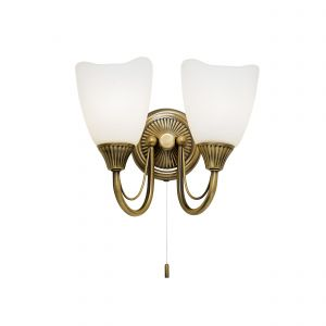 Haughton 2 Light E14 Antique Brass Wall Light With Pull Cord Switch C/W Opal Glass Shades