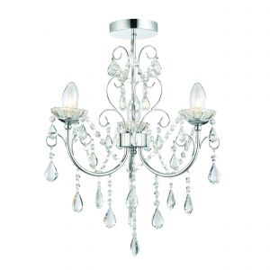 Gowanha 3 Light G9 Polished Chrome IP44 Semi Flush Bathroom Chandelier With Clear Faceted Crystals