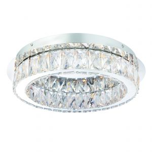 Swayze 1 Light 16W Integrated LED, 3000K, 1280lm IP44 Polished Chrome Btahroom Flush Fitting With Cear Faceted Acrylic Crystals