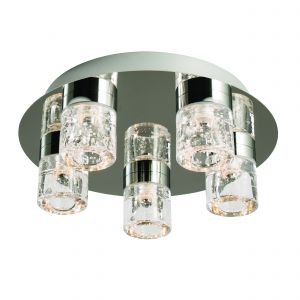 Imperial 5 Light 5x5W Integrated LED, 3000K, 480lm IP44 Polished Chrome Btahroom Flush Fitting With Bubbles Infused Clear Glass Shades