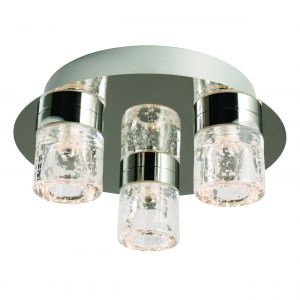 Imperial 3 Light 3x5W Integrated LED, 3000K, 288lm IP44 Polished Chrome Btahroom Flush Fitting With Bubbles Infused Clear Glass Shades