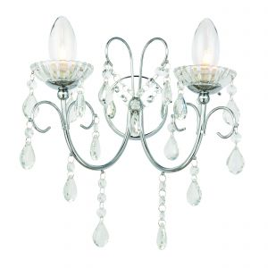 Gowanha 2 Light G9 Polished Chrome IP44 Bathroom Wall Light With Clear Faceted Crystals