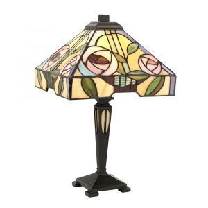 Willow 1 Light E14 Dark Bronze Small Table Lamp With Inline Switch C/W Rose Design Square Tiffany Shade
