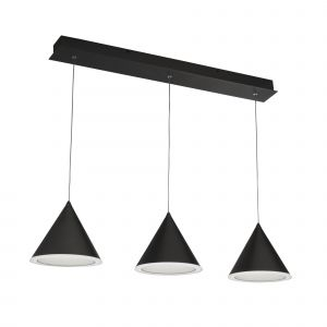 Colbert 3 Light 27W 1204lm Integrated LED Black Linear Adjustable Pendant With Frosted White Acrylic Shade 3000K