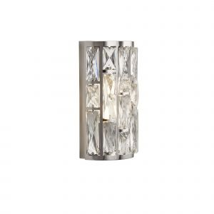 Mellon 2 Light E14 Polished Chrome Double Wall Light With Crystal Glass Pieces