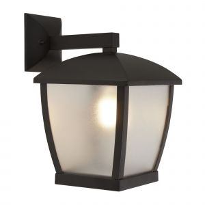Huston 1 Light E27 Die Cast Aluminium Black Outdoor IP44 Wall Light With Clear Frosted Polycarbonate Shade
