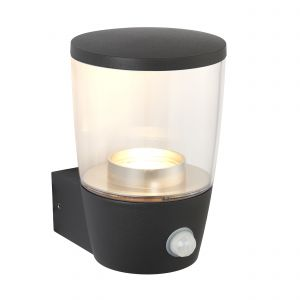 Canillo Single PIR Outdoor Wall Light Anthracite Paint/Clear Finish