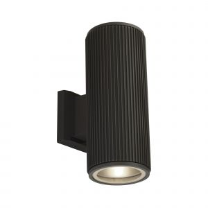 Harmon 2 Light E27 Black Aluminium Outdoor IP54 Ribbed Up/Down Wall Light With Clear Glass