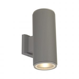 Harmon 2 Light E27 Grey Aluminium Outdoor IP54 Ribbed Up/Down Wall Light With Clear Glass