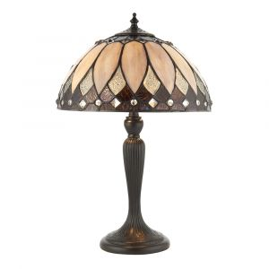 Brooklyn Single Small Tiffany Table Lamp with In-Line Switch and Dark Bronze Base Finish