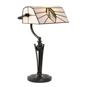 Astoria 1 Light E27 Bankers Table Lamp With Inline Switch C/W Art Deco Tiffany Shade