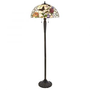 Butterfly 2 Light E27 Dark Bronze Floor Lamp With Lampholder Pull Cord Switch C/W Combines Flowers & Butterflies Tiffany Shade