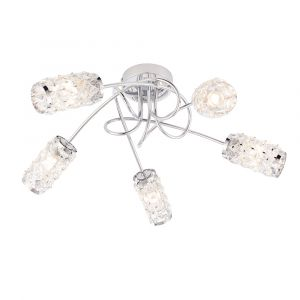Colby 5 Light G9 Polished Chrome IP44 Semi Flush Bathroom Ceiling Light With Clear Glass Faceted Crystals