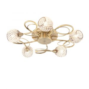 Aherne 5 Light G9 Antique Brass Semi Flush Fitting With Clear Facetted Glass Beased Shades