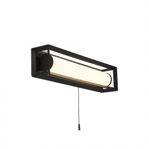 Louise 1 Light 9.4W 351lm Integrated LED Matt Black IP44 Bathroom Switched Rectangle Wall Light 3000K