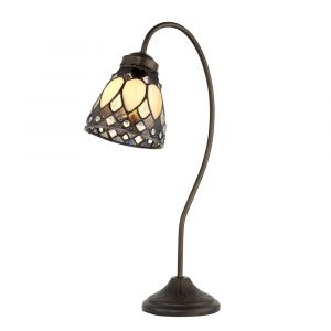 Brooklyn 1 Light E14  Dark Bronze Swan Neck Table Lamp With Inline Switch C/W Bevelled & Textured Ccrain Tiffany Shade