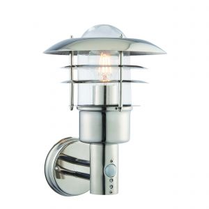 Dexter 1 Light E27 Polished Stainless Steel IP44 Outdoor Wall Light With PIR C/W Clear Glass Shade