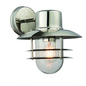 Dexter 1 Light E27 Polished Stainless Steel IP44 Outdoor Wall Light C/W Clear Glass Shade