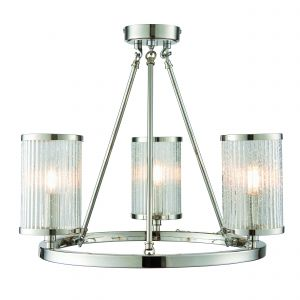 Easton 3 Light E14 Bright Nickel Adjustable Ceiling Light With Clear Ribbed Glass Shades With Bubble Details