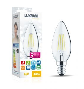 Value Classic LED Candle E14 Dimmable 4W 6000K Cool White, 470lm, Clear Finish, 3yrs Warranty