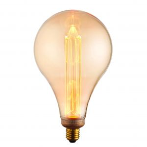 XL E27 2.5W 2300K, 120lm LED Globe 148mm Bulb With Tinted Amber Glass