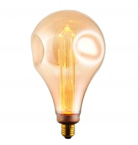 XL E27 2.5W 2300K, 120lm LED Dimple Globe 148mm Bulb With Tinted Amber Glass
