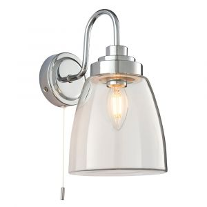 Ashbury 1 Light Polished Chrome IP44 Bathroom Wall Light With Clear Glass Shade & Pull Cord Switch