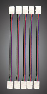 (Pack Of 5) Double Ended RGB Connector (10mm Strip)