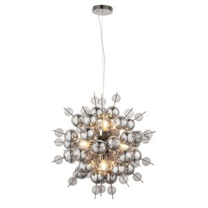 Azul 9 Light E14 Black Chromed Pendant With Delicate Smoked Mirror & Tinted Glass Spheres