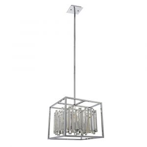 Acadia 4 Light E14 Chrome Pendant With Clear Bevelled Glass Crystal Details