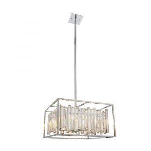 Acadia 6 Light E14 Chrome Pendant With Clear Bevelled Glass Crystal Details