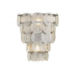 Doblo 2 Light E14 Antique Silver Tiered Wall Light With Mercury Glass Ornate Suspended Discs